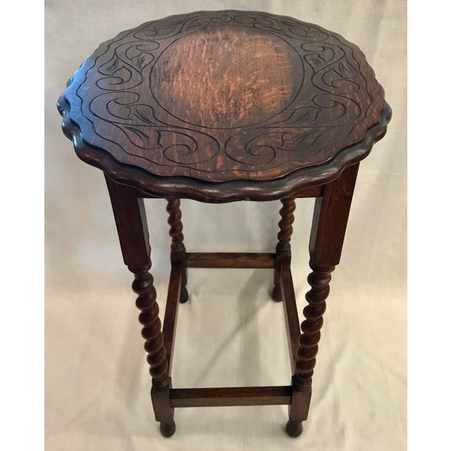 Oak Early 20th Century Antique English Oak Side Table For Sale - Image 7 of 10