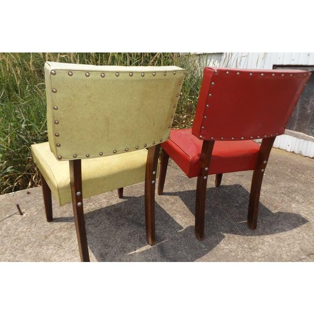 Retro Mid-Century Vinyl Accent Chairs - A Pair - Image 4 of 11