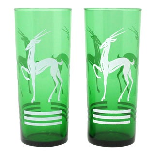 Vintage Anchor Hocking Green Gazelle Glasses - a Pair For Sale