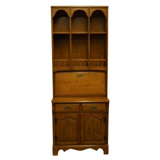 "1960s Early American Williams Furniture Colonial Style Solid Hard Rock Maple 30"" Drop-Front Secretary Desk For Sale"