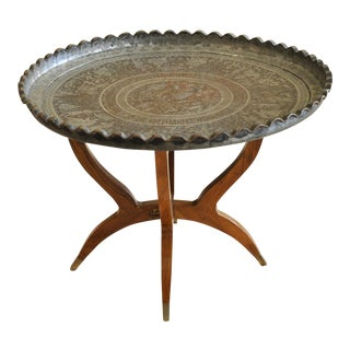 1950s Persian Hand Engraved Tinned Copper Tray Table For Sale