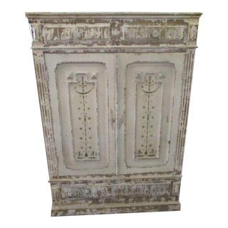 Gustavian Style Distressed White Shabby Chic Cabinet