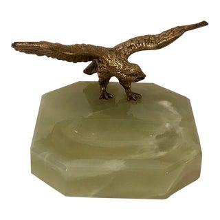 Vintage Onyx Base Desk Paperclip Holder With Eagle For Sale