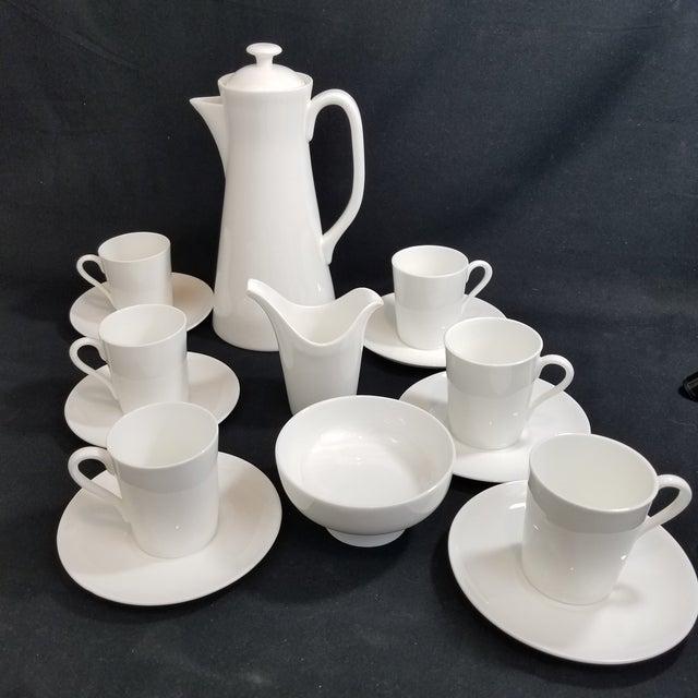 This is a 1948 Gustavsberg, Sweden Stig Lindberg Espresso Set White Pot, Open Sugar, Creamer, 6 Demitasse Cups and Saucers...