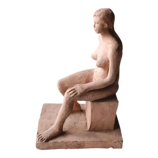 Late 20th Century Vintage Terra Cotta Nude Sculpture For Sale