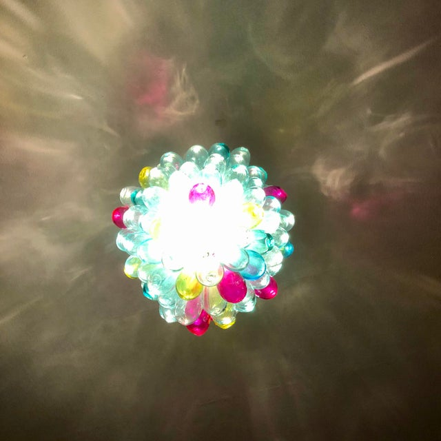 Recycled Handblown Glass Candy Colors Light Fixture For Sale - Image 9 of 12