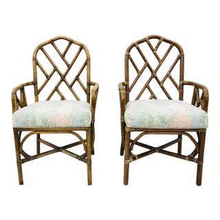 Pair Vintage Rattan Chinese Chippendale Style Arm Chairs For Sale