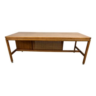 Jens Risom Walnut and Cane Large Executive Desk For Sale