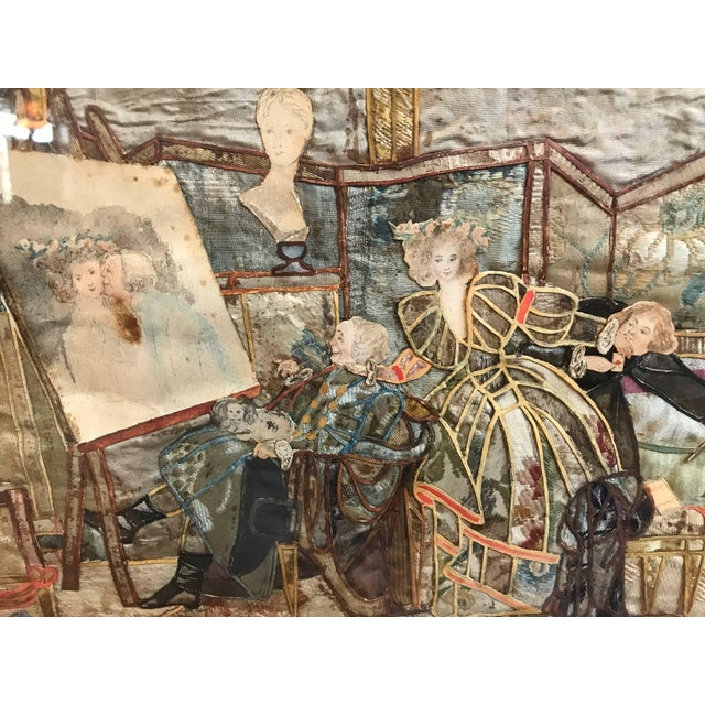 Mid 19th Century 19th Century French Interior Scene Collage of Silk and Paper For Sale - Image 5 of 9
