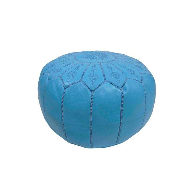 Islamic Embroidered Leather Pouf in Sky Blue Star Stitch For Sale - Image 3 of 3