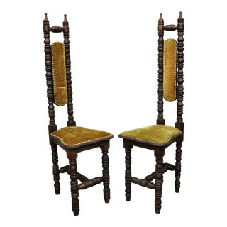 Vintage Spanish Jacobean Renaissance Revival Gothic Hall Prayer Chairs - a Pair For Sale