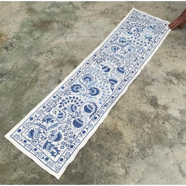 Blue Suzani Silk Table Runner - Image 3 of 6
