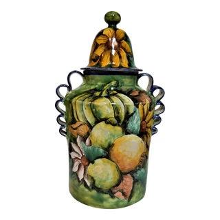 Majolica Guanajuato Pottery Large Lidded Jar For Sale