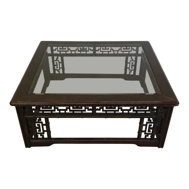 Mahogany Asian Style Glass Top Coffee Table For Sale