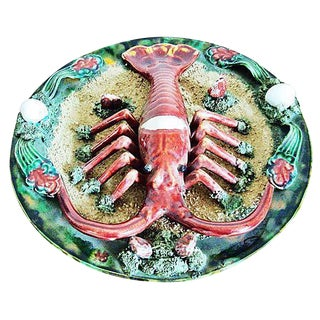 Ceramic Majolica Lobster Plate For Sale