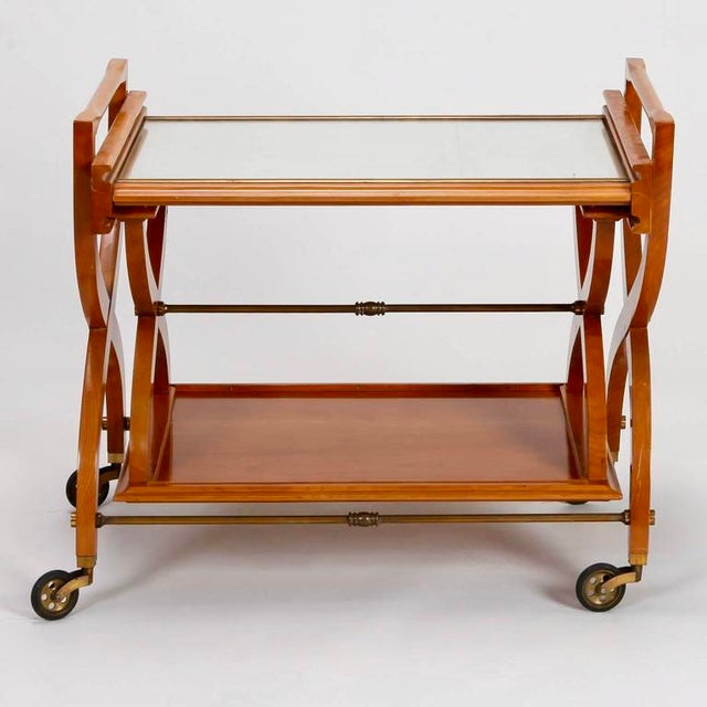 French Mid-Century Serving Trolley & Coordinating Self Storing Table - Image 5 of 11