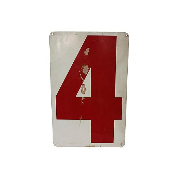 Circa 1970s painted aluminum gas station number 3, with a 4 on reverse. Sign has holes where once hung, surface wear,...