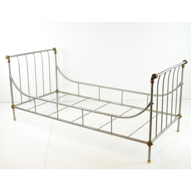 Maison Jansen Style Steel & Brass Daybed - Image 9 of 9