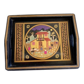 Midcentury Hand Carved Wood Decor Tray For Sale