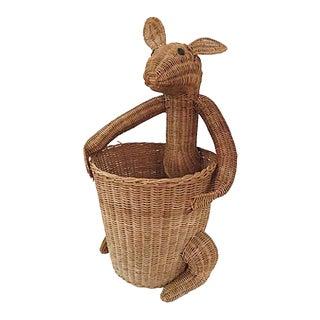 Vintage Rattan Kangaroo Basket