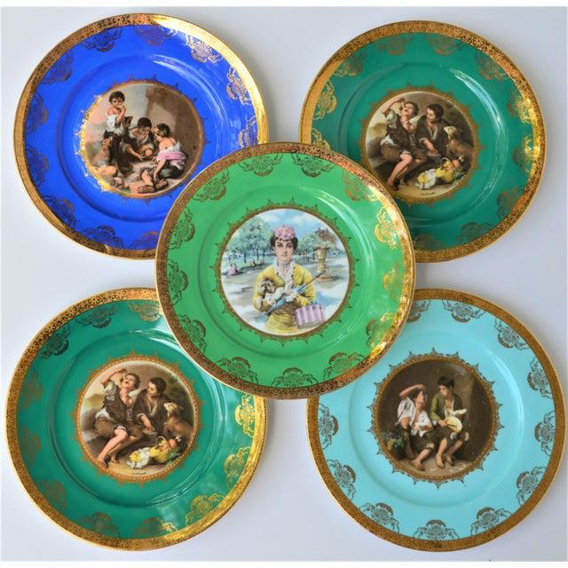 Antique Josef Kuba Jkw Bavaria Porcelain Plates - Set of 5 For Sale In Houston - Image 6 of 11