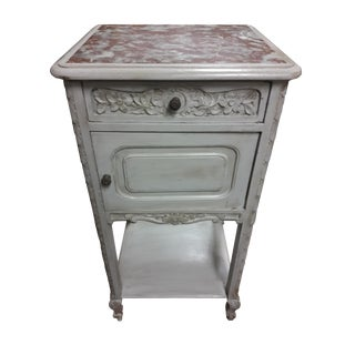Antique French Gustavian Style Marble Top Nightstand For Sale