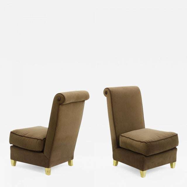 Maison Jansen Chicest pair of slipper chairs newly reupholstered in velvet with gold leaf tapered legs.