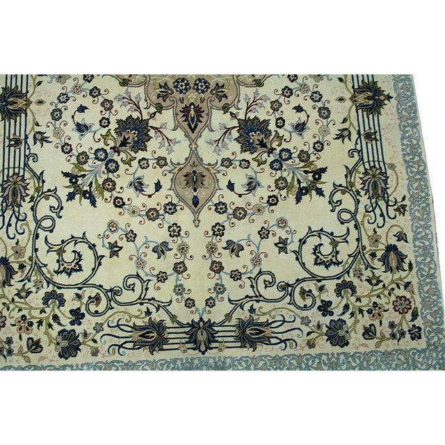 "Vintage Wool & Silk Persian Isfahan Rug - 3'11"" x 5'7"" For Sale In Los Angeles - Image 6 of 6"