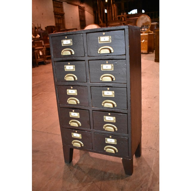 Mid-Century Antique Card Catalogue Vintage File Cabinet For Sale - Image 10  of 10 - Mid-Century Antique Card Catalogue Vintage File Cabinet Chairish