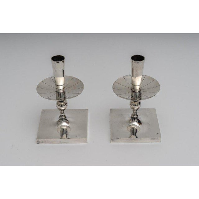 Silver Plated Candlesticks by Tommy Parzinger - a Pair For Sale In West Palm - Image 6 of 13