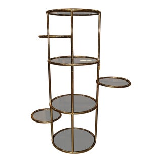 Baughman Inspired Extra Tall Brass & Smoked Glass 7 Layer Swivel Stand For Sale