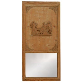 1820s French Directoire Pine Trumeau Mirror For Sale