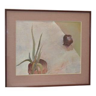 Carol Fremlin Onion & Aloe Still Life Oil Painting C.1980s