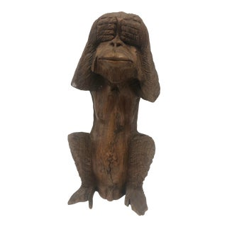 """Hand Carved Wooden Monkey Sculpture """"See No Evil"""" For Sale"""