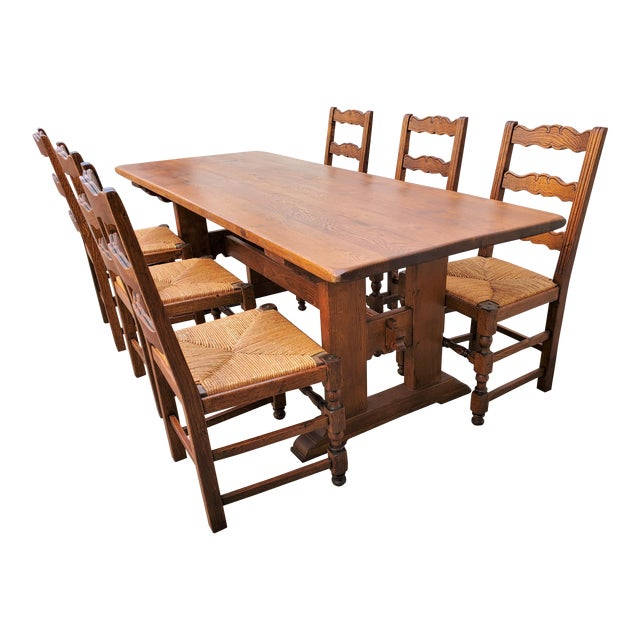 Antique Plank Solid Oak Refectory Dining Table With Set of 6 Ladderback Chairs - 7 Pieces For Sale