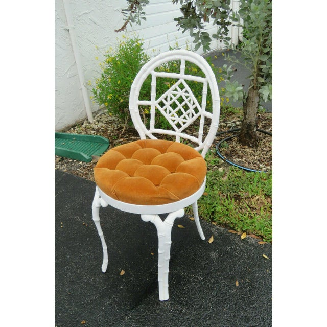 1970s Vintage Hollywood Regency Painted Iron Faux Bamboo Side Chair Stool by Kessler For Sale - Image 13 of 13