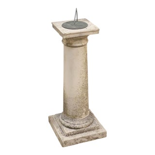 Large English Sundial of Composition Stone with Bronze Dial - H 44 Inches For Sale