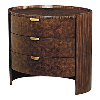 Scarborough House Myrtle Burl Zebrano Round Nightstand For Sale