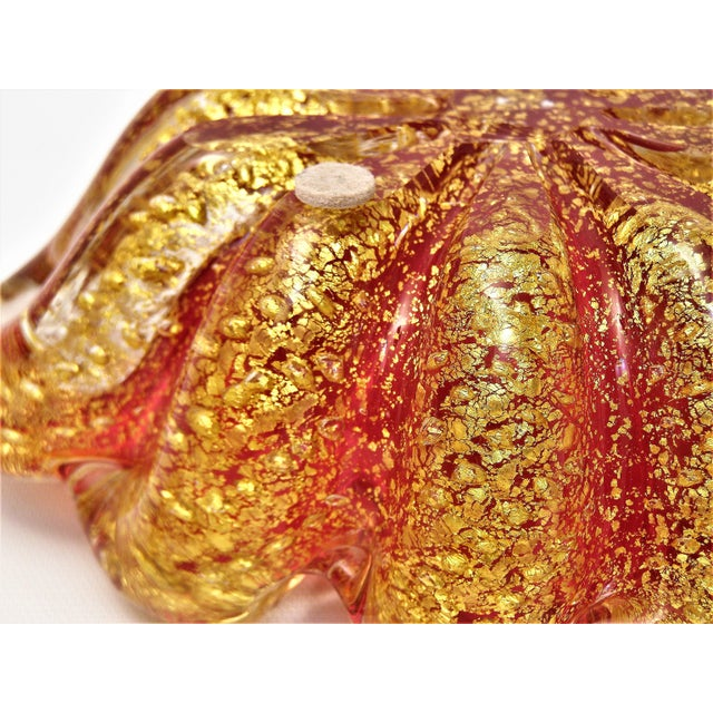 Vintage Italian Barovier & Toso Murano Gold and Red Bowl & Pestle - Venetian Italy Mid Century Modern Boho Chic For Sale - Image 9 of 12