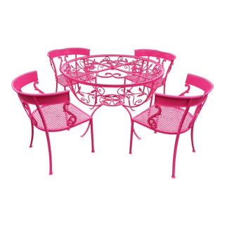 Salterini Neon Pink Wrought Iron Table and 4 Klismos Chairs - 5 Pieces For Sale