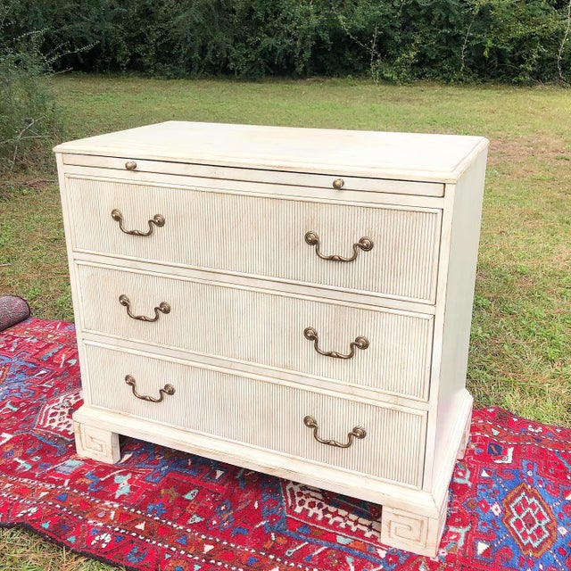 Hickory White Chest With Flutted Drawers and Greek Key Legs For Sale - Image 13 of 13