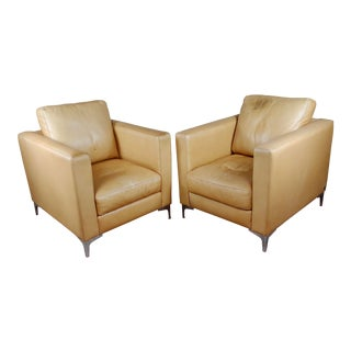 Kendal Art Deco Club Chairs by American Leather -A Pair