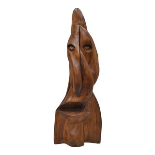 "Large Hawaiian Tiki 40"" Carved Wood Face Statue Sculpture For Sale"