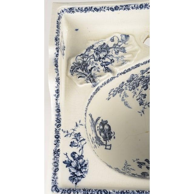 Porcelain Sink Basin With Blue Floral Pattern For Sale - Image 5 of 8