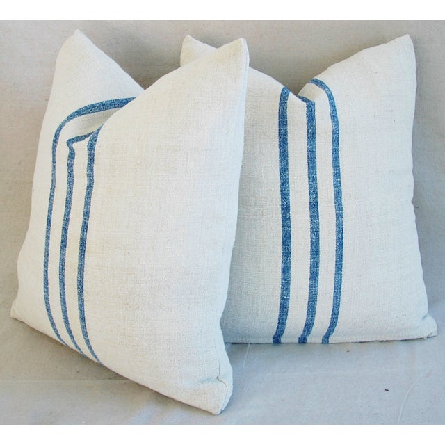French Grain Sack Down & Feather Pillows - Pair - Image 11 of 11
