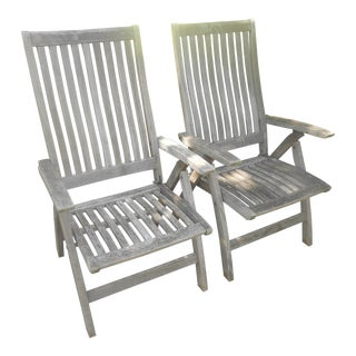1980s Vintage Gloster Grade-A Teak Wood Reclining Folding Arm Chairs- a Pair For Sale