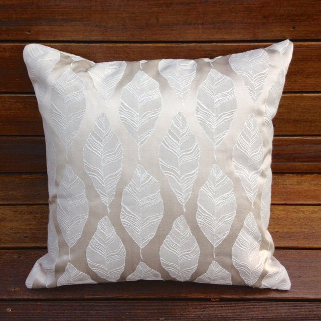 Cream and Gold Embroidered Leaf Print Pillow - Image 2 of 4