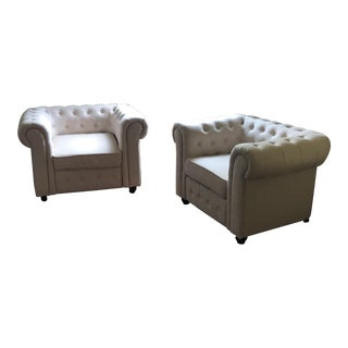 1960s Vintage Chesterfield Scroll Armchairs - a Pair For Sale