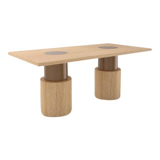 Contemporary 102C Dining Table in Oak and Brown by Orphan Work, 2020 For Sale