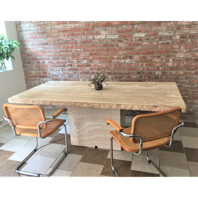 Stone Travertine Pedestal Dining Table For Sale - Image 7 of 9